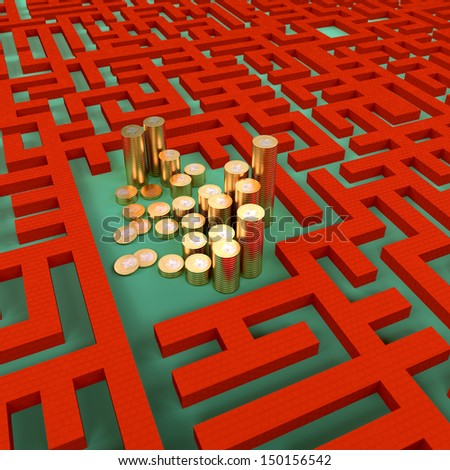 Coins in the abstract labyrinth, success concept. - stock photo