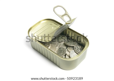 Coins in Tin Can on White Background - stock photo