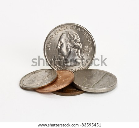 coins isolated on a white background - stock photo