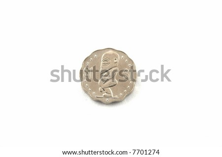 Coins of Cook islands on a white background