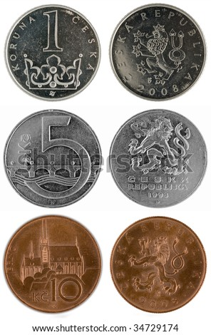Coins of Czech republic (Europe) - two sides (1, 5 and 10 Kc) - stock photo