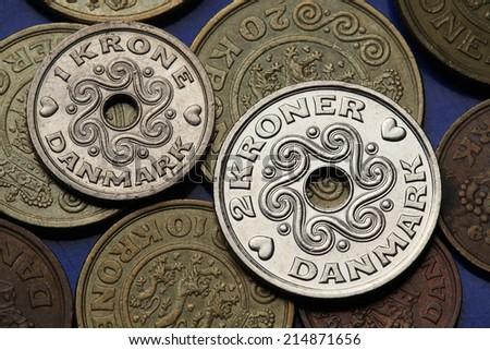 Coins of Denmark. Danish krone coins.  - stock photo