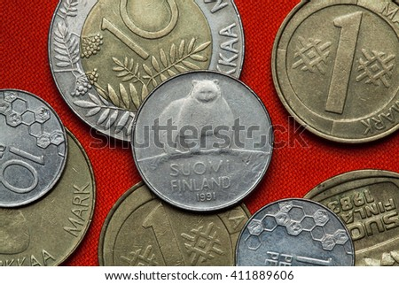 Coins of Finland. Brown bear (Ursus arctos) depicted in the Finnish 50 penni coin (1991). - stock photo