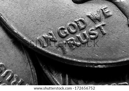 Coins of Silver American Money with words In God We Trust - stock photo