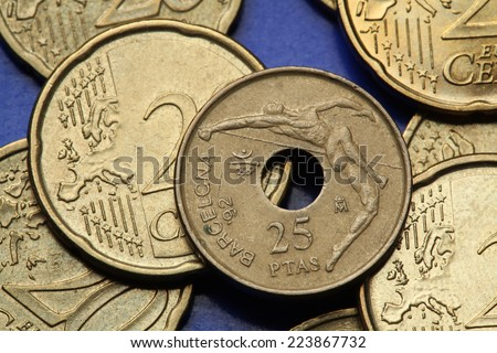Coins of Spain. High jumper depicted in the old Spanish 25 peseta coin dedicated to the 1992 Summer Olympics in Barcelona.  - stock photo