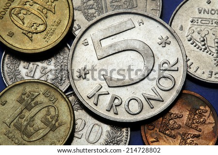 Coins of Sweden. Swedish five and ten kronor coins. - stock photo
