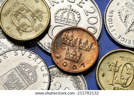 Coins of Sweden. Three Swedish crowns depicted in Swedish ore coin. - stock photo