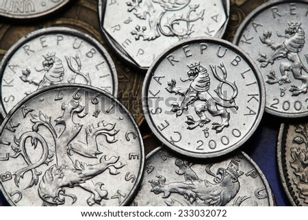 Coins of the Czech Republic. Bohemian heraldic lion depicted on old Czech heller coins.  - stock photo