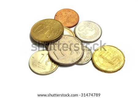 Coins of the different countries - stock photo