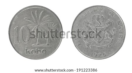 coins of the Republic of Nigeria 10 Kobo - stock photo