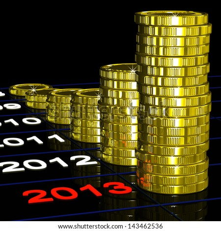 Coins On 2013 Shows Currents Expectations And Profits - stock photo