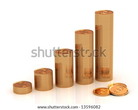 Coins on white background, 3d
