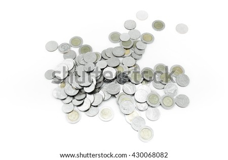 Coins on white background,Donation Investment Fund Financial Support Charity  Dividend Market Growth Home Stock Trust Wealthy Giving Planned Accounting Collection Debt Banking ROI concept - stock photo