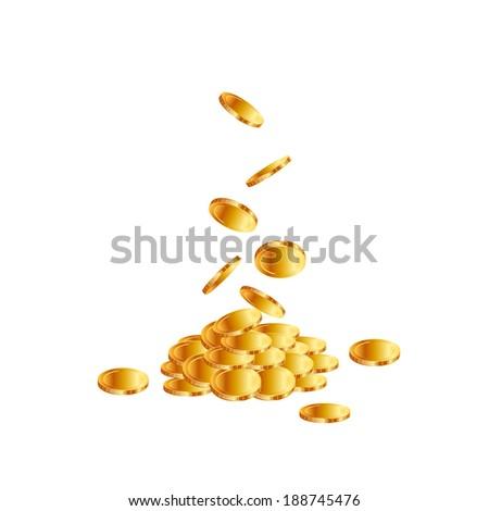 Coins on white background.  Raster copy. - stock photo