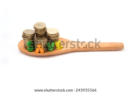 Coins  on wooden spoon isolated with white background. - stock photo