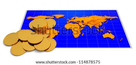 Coins over world map on the white background