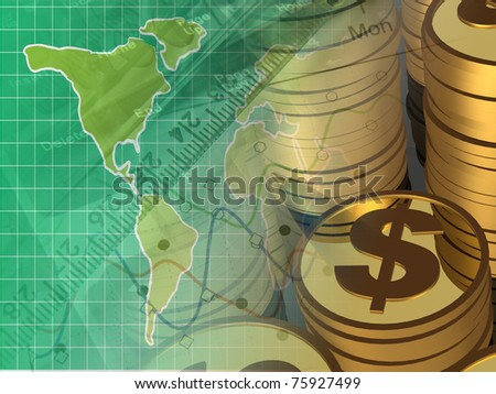 Coins, ruler and map, collage about reporting. - stock photo