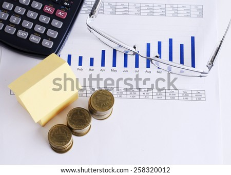 Coins stack and house paper and calculator and eyeglass on chart for Loans money concept