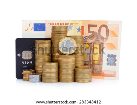 Coins stack with credit card and euro bill isolated on white background - stock photo