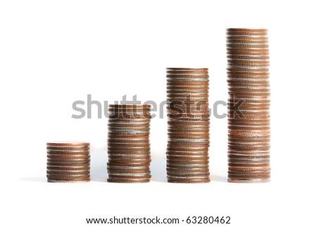 Coins Steps Thai Baht - stock photo