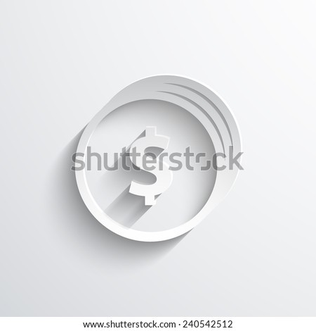 coins with dollar sign web flat icon illustration. - stock photo
