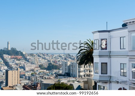Coit Tower and San Francisco - stock photo