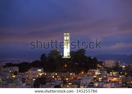 Coit Tower centered dusk - stock photo