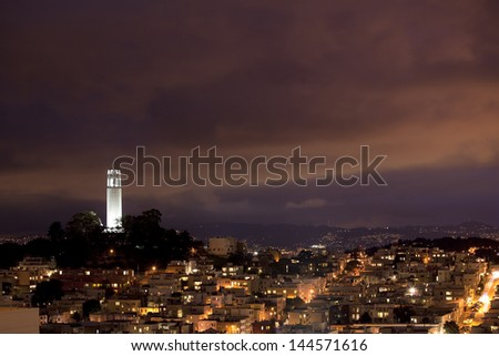 Coit tower night - stock photo