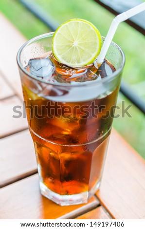 Coke with lemon - stock photo