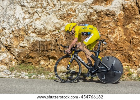 COL DU SERRE DE TOURRE, FRANCE - JUL 15: Christopher Froome of Team Sky, in Yellow Jersey, riding jn an individual time trial stage on Col du Serre de Tourre during Tour de France 2016