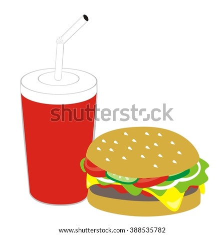 Cola and hamburger