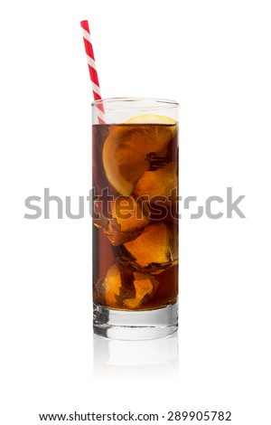 Cola drink in a glass with ice cubes, straw and lemon on white background - stock photo