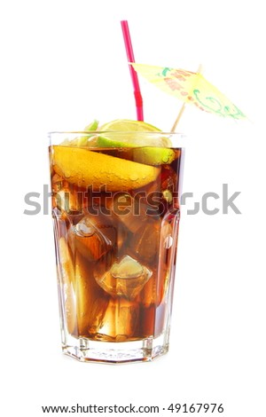 cola drink or beverage isolated on white background