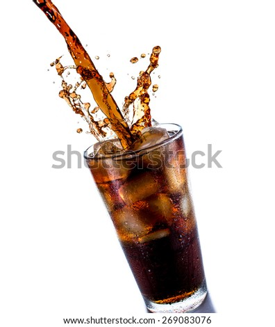 Cola drink splash with ice cube on white background - stock photo