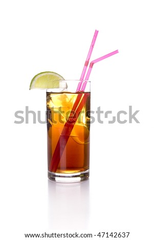 Cola Drink with lime on white ground - stock photo