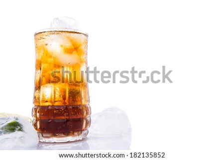 Cola drinks with ice cubes over white background