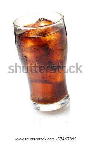 Cola glass. Isolated on white background - stock photo