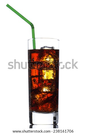 Cola glass with ice cubes over white - stock photo