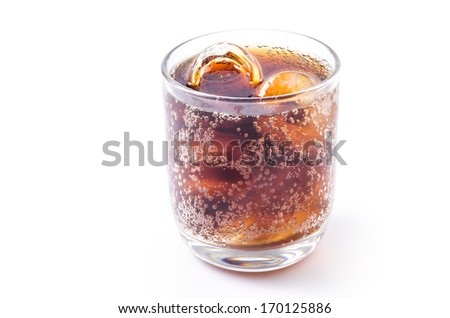 Cola in glass on isolated white background