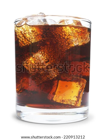 Cola in glass with ice from top on white background