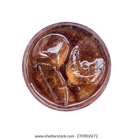Cola in glass with ice from top view on white background - stock photo