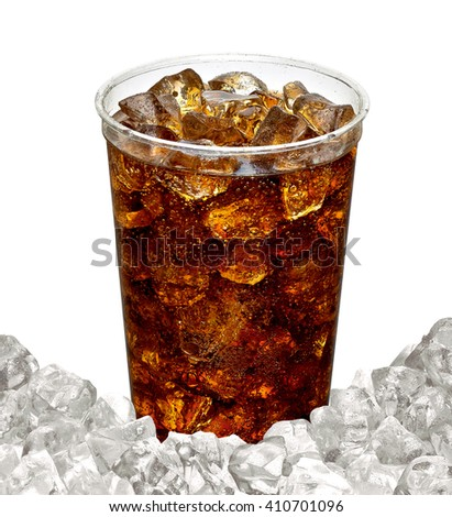 Cola in takeaway cup with crushed ice on white background - stock photo