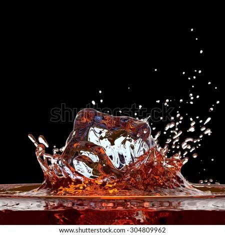 Cola ( or whisky ) splash against black - stock photo