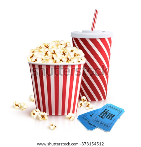 Cola Popcorn And Tickets - stock photo
