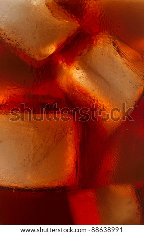 cola with ice - stock photo