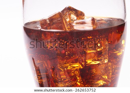 cola with ice cubes