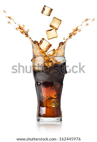 Cola with ice cubes isolated on white - stock photo