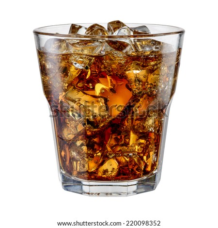 Cola with ice cubes isolated on white. With clipping path - stock photo