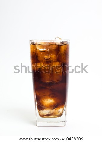 Cola with ice cubes ,Placed on a white background.