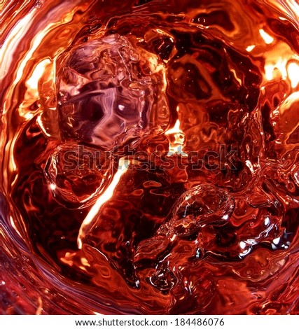 Cola with ice in a cup. top view - stock photo